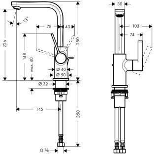 Wymiary techniczne baterii umywalkowej Metris S 31159000-image_Hansgrohe_31159000_4