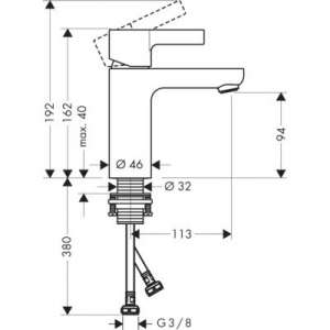 Rysunek techniczny baterii do umywalki Hansgrohe z serii Metris S -image_Hansgrohe_31016000_2