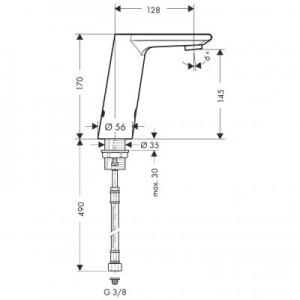 Rysunek techniczny baterii elektronicznej Hansgrohe Metris S 31100000-image_Hansgrohe_31100000_2