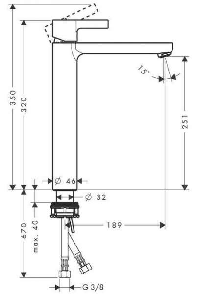 Wymiary techniczne baterii umywalkowej Metris S 31023000-image_Hansgrohe_31023000_5