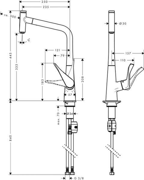 Wymiary techniczne baterii kuchennej Metris Select 14 884 000-image_Hansgrohe_14884000_4