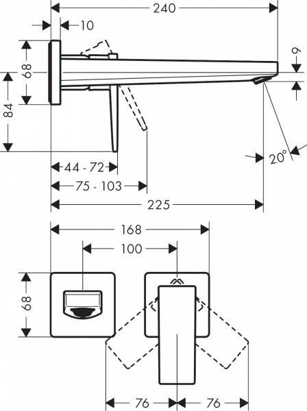 Wymiary techniczne baterii Hansgrohe Metropol 32526340.-image_Hansgrohe_32526340_2