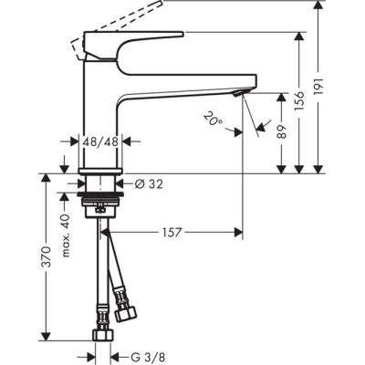 Rysunek techniczny baterii Metropol 74502 000-image_Hansgrohe_74502000_3