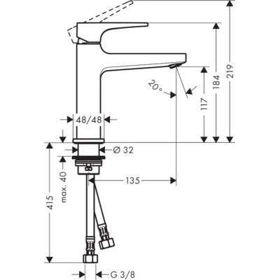 Rysunek techniczny baterii umywalkowej Metropol 74507 000-image_Hansgrohe_74507000_6