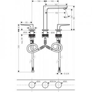 Wymiary techniczne baterii do umywalki Hansgrohe Metropol 74515000- image_Hansgrohe_74515000_2