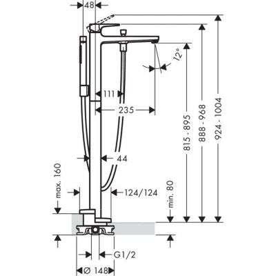Wymiary techniczne wolnostojącej kolumny wannowej Hansgrohe Metropol 32532000-image_Hansgrohe_32532000_2