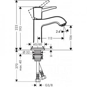 Rysunek techniczny baterii do umywalki Hansgrohe seria Metropol Classic 31301090-image_Hansgrohe_31301090_2