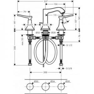 Wymiary techniczne baterii Hansgrohe Metropol Classic 31330000-image_Hansgrohe_31330000_2