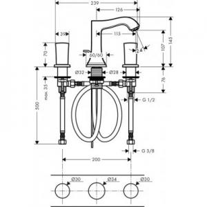 Dane techniczne baterii Hansgrohe Metropol Classic 31304090-image_Hansgrohe_31304090_2