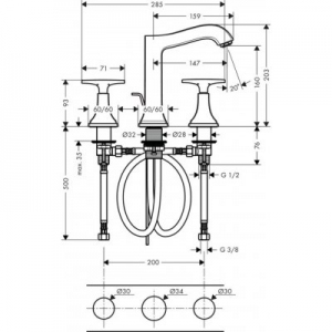 Wymiary techniczne baterii do umywalki Hansgrohe Metropol Classic 31307090-image_Hansgrohe_31307090_2