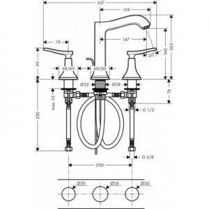 Wymiary techniczne kranu umywalkowego Hansgrohe Metropol Classic 31331090-image_Hansgrohe_31331090_2