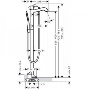 Rysunek techniczny armatury wannowej Hansgrohe Metropol Classic 31445090-image_Hansgrohe_31445090_2