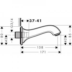 Dane techniczne wylewki do wanny Hansgrohe Metropol Classic 13425000-image_Hansgrohe_13425000_2