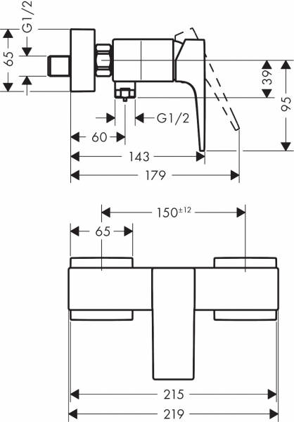 Rysunek techniczny armatury prysznicowej Hansgrohe Metropol 32560990.-image_Hansgrohe_32560990_2