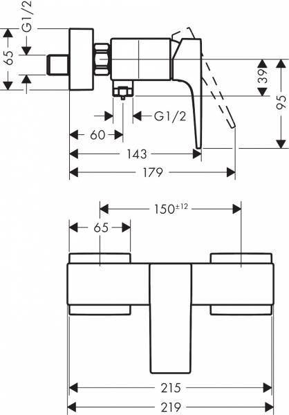 Wymiary techniczne natynkowej baterii Metropol 32560340.-image_Hansgrohe_32560340_3