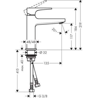 Rysunek techniczny baterii umywalkowej Metropol 32507 000-image_Hansgrohe_32507000_4