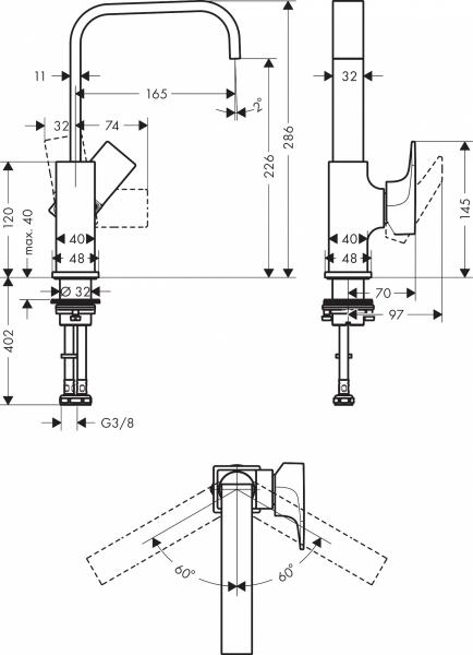 Rysunek techniczny baterii Metropol 32511700.-image_Hansgrohe_32511700_3