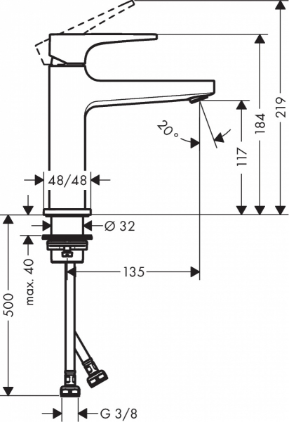 Rysunek techniczny baterii Hansgrohe Metropol 32507340.-image_Hansgrohe_32507340_2