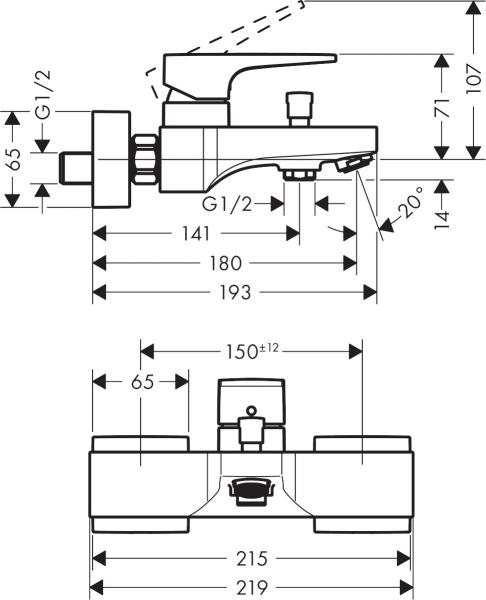 Wymiary techniczne armatury wannowej Metropol 32540340.-image_Hansgrohe_32540340_3