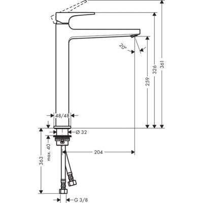 Rysunek techniczny baterii umywalkowej Metropol 74512000-image_Hansgrohe_74512000_4