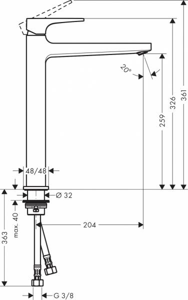 Wymiary techniczne baterii umywalkowej Metropol 32512700-image_Hansgrohe_32512700_2