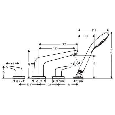 Rysunek techniczny baterii 4 otworowej 71333000-image_Hansgrohe_71333000_3