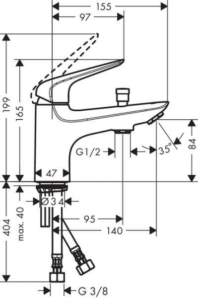wymiary techniczne jednootworowej baterii do wanny Novus 71321000-image_Hansgrohe_71321000_3