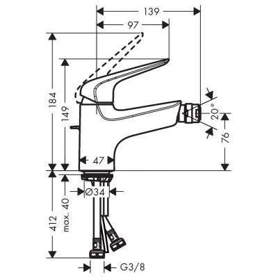 Rysunek techniczny baterii bidetowej 71142000-image_Hansgrohe_71142000_3