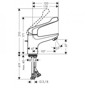 Wymiary techniczne baterii do umywalki Hansgrohe Novus 71920000-image_Hansgrohe_71920000_2
