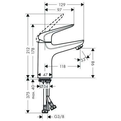 Rysunek techniczny baterii Novus 71034000-image_Hansgrohe_71034000_3