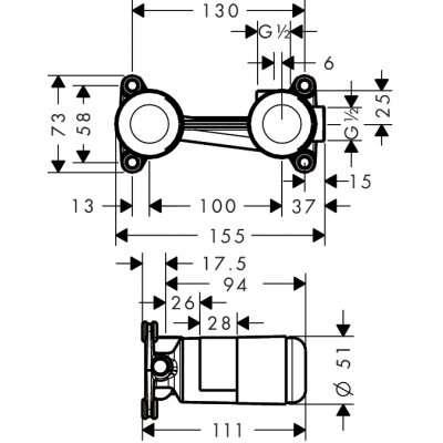 Rysunek techniczny elementu podtynkowego do baterii umywalkowej 13622180-image_Hansgrohe_HGR/NOVUS/UMYWALKA_3