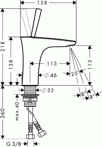Wymiary techniczne baterii umywalkowej Hansgrohe Puravida 15070000-image_Hansgrohe_15070000 _3