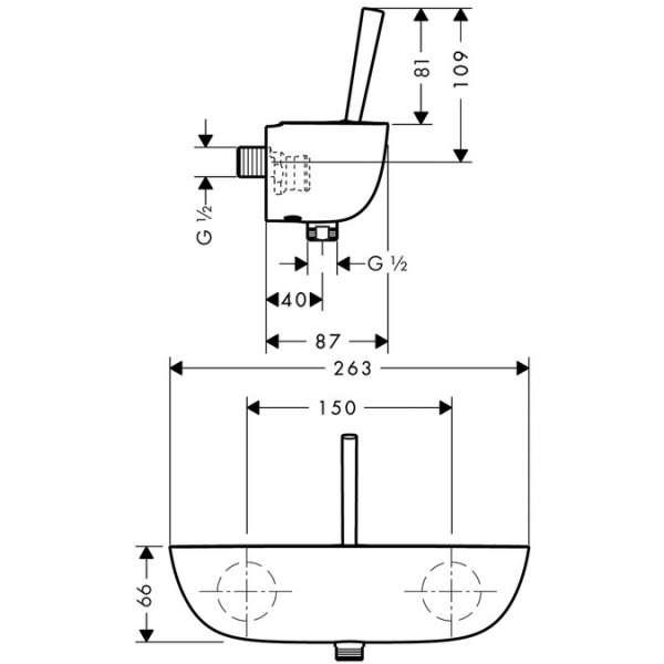 Wymiary techniczne baterii prysznicowej Hansgrohe PuraVida 15672400-image_Hansgrohe_15672400_3