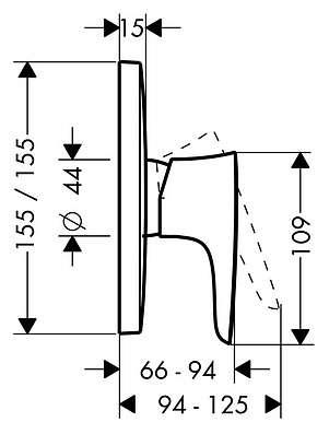 Wymiary techniczne baterii prysznicowej Hansgrohe PuraVida 15665000 -image_Hansgrohe_15665000_3