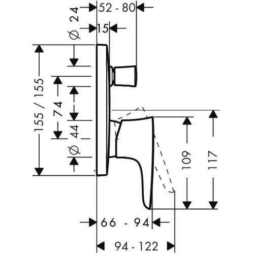 Rysunek techniczny baterii podtynkowej Puravida 15445000-image_Hansgrohe_15445000_4