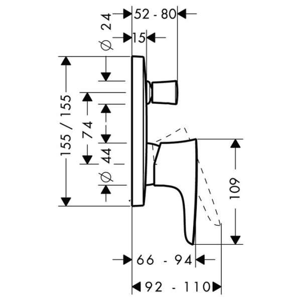 Wymiary techniczne baterii wannowej Hansgrohe PuraVida 15447000-image_Hansgrohe_15447000_3