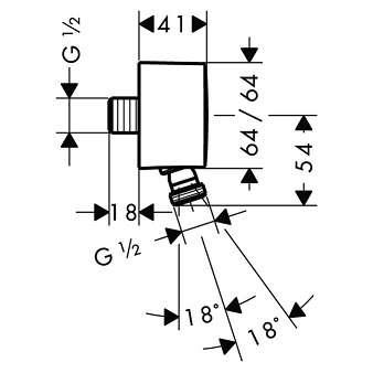 Wymiary techniczne przyłącza kątowego Hansgrohe PuraVida-image_Hansgrohe_27414000_3