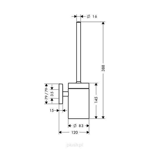 Wymiary techniczne szczotki Hansgrohe PuraVida 41505000-image_Hansgrohe_41505000_3