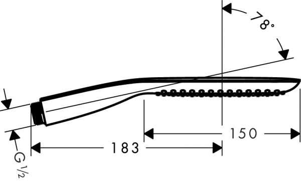 Wymiary techniczne słuchawki prysznicowej Hansgrohe PuraVida 28558400-image_Hansgrohe_28558400 _4
