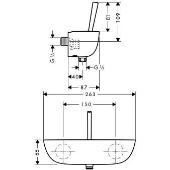 Wymiary techniczne baterii prysznicowej Hansgrohe PuraVida 15672000-image_Hansgrohe_15672000_3