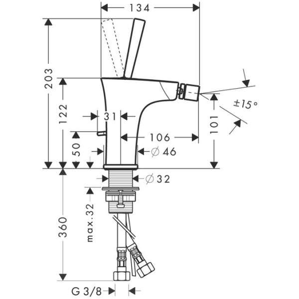 Wymiary techniczne baterii bidetowej Hansgrohe PuraVida 15270400-image_Hansgrohe_15270400_3