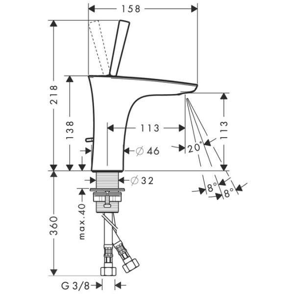 Wymiary techniczne baterii umywalkowej Hansgrohe PuraVida 15074000-image_Hansgrohe_15074000_4