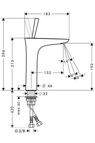 Wymiary techniczne baterii umywalkowej Hansgrohe PuraVida 15081000-image_Hansgrohe_15081000_3