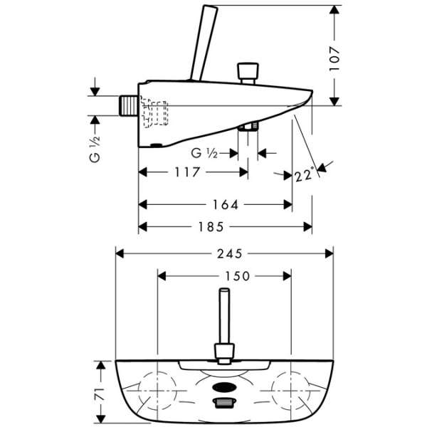 Wymiary techniczne baterii wannowej Hansgrohe PuraVida 15472000-image_Hansgrohe_15472000_3
