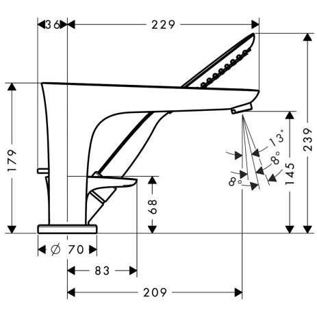 Wymiary techniczne baterii wannowej Hansgrohe PuraVida Hansgrohe 15432000-image_Hansgrohe_15432000_3