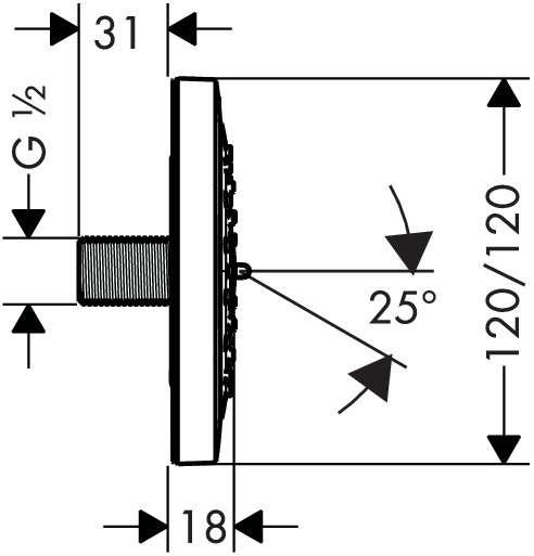 Wymiary techniczne dyszy bocznej Hansgrohe PuraVida 28430000-image_Hansgrohe_28430000_3