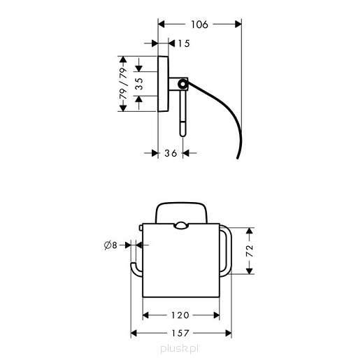 Wymiary techniczne uchwytu ściennego na papier toaletowy Hansgrohe PuraVida 41508000-image_Hansgrohe_41508000_3