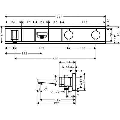 Rysunek techniczny baterii termostatycznej 15359000-image_Hansgrohe_15359000_3