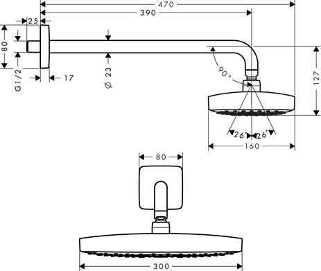 Wymiary techniczne głowicy prysznicowej z ramieniem prysznicowym Hansgrohe Raindance Select E 300 27385400-image_Hansgrohe_27385400_3