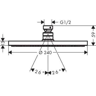 Wymiary techniczne desczownicy Raindance 27623000-image_Hansgrohe_27623000_2
